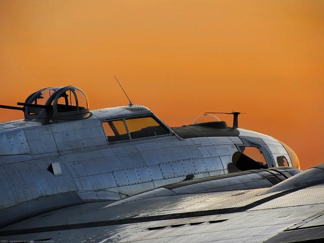B-17 bomber sunset
