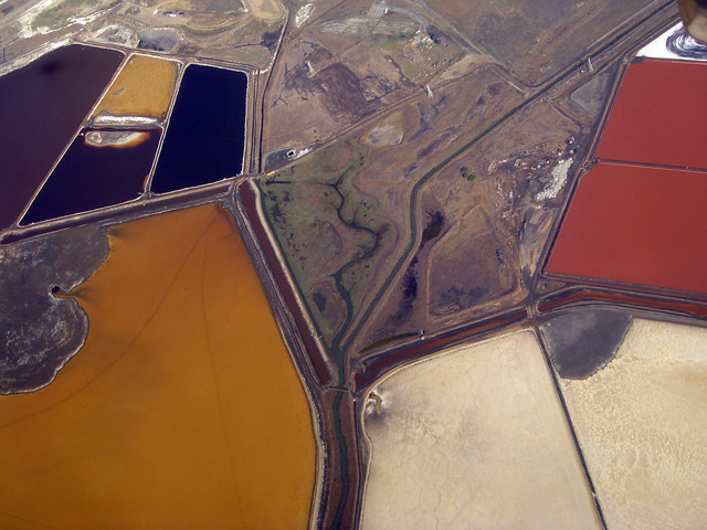 Salt ponds in wetlands on the east side of San Francisco Bay, by dsearls