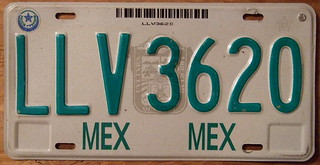 MEXICO,  MEXICO STATE c.1998 LICENSE PLATE