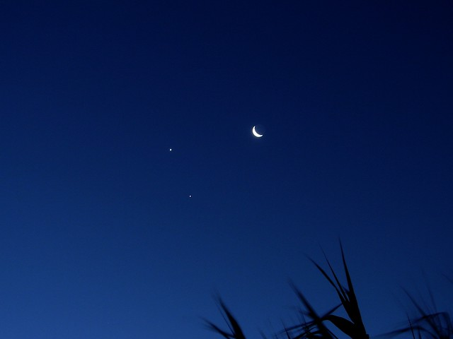 Conjunción Luna, Venus, Júpiter