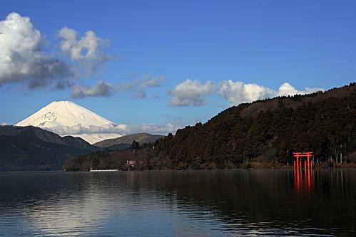 blue red white mountain lake green japan clouds volcano gate asia fuji cone mount caldera sacred fujisan tori hakone torii mtfuji ashi swamysk