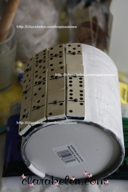 Como hacer una original maceta para el dia del padre reciclado piezas de domino