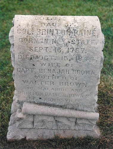 Violetta (Paine) (Brown) (Nichols) Dusten - buried in 1844 at the Burdick Cemetery, Malahide, Elgin, Ontario, Canada
