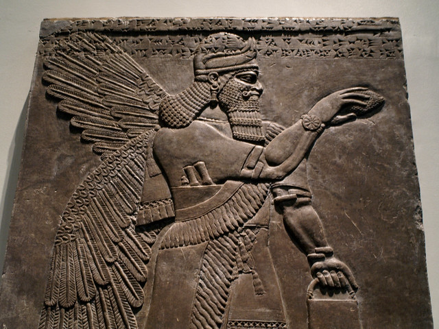 Assyrian relief carving winged man flickr photo sharing
