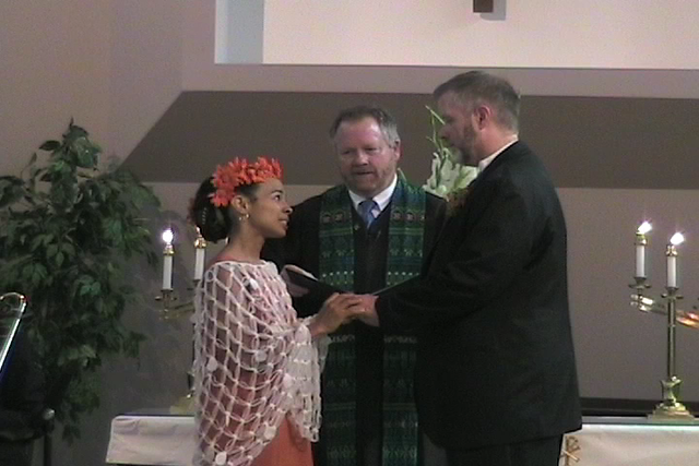 Fawn laughs during vows