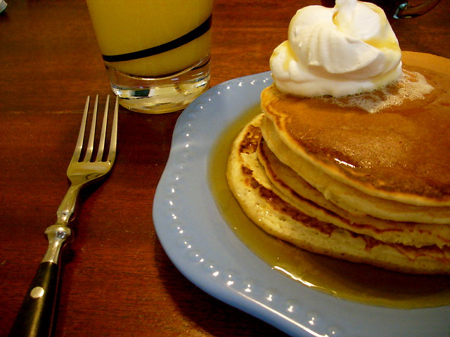 Sunday Morning Breakfast: Pancakes with Cool Whip and OJ | Flickr ...