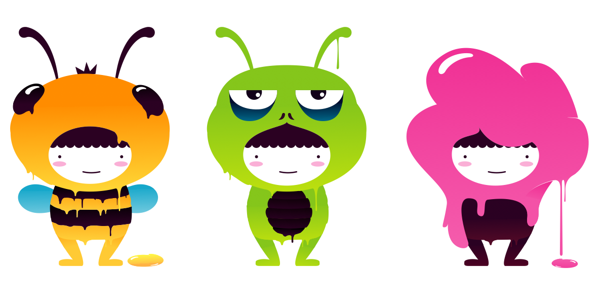 Bee, Monster & Bubblegum Boy
