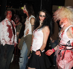 clothing, halloween, goth subculture, fashion, zombie, lady, costume, performance art,