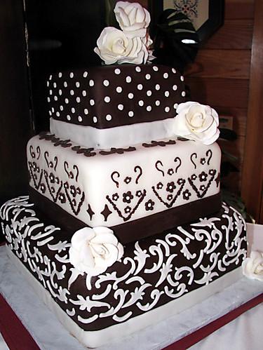 Square three tier custom unique elegant wedding cake ...