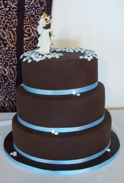 Chocolate & blue wedding cake