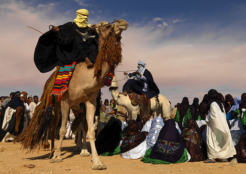 Tuaregs doing the camel dance, Ghadames, Libya