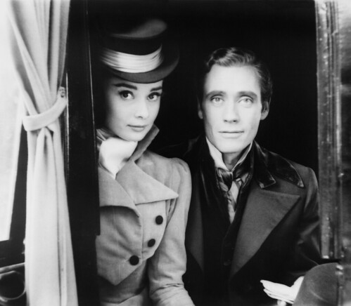 Audrey Hepburn and Mel Ferrer on the set of War and Peace, by Milton Greene, 1955