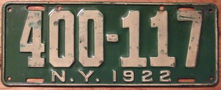 NEW YORK 1922 LICENSE PLATE