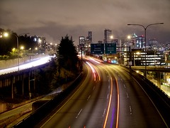 A serpentine highway through Downtown Seattle