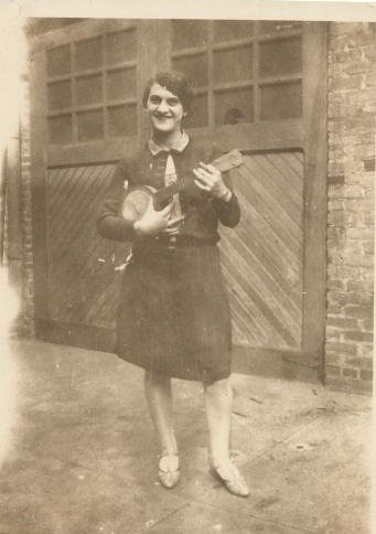 Nanny (my grandmother) Playing a Tiny Banjo in the 1920s, Newark NJ