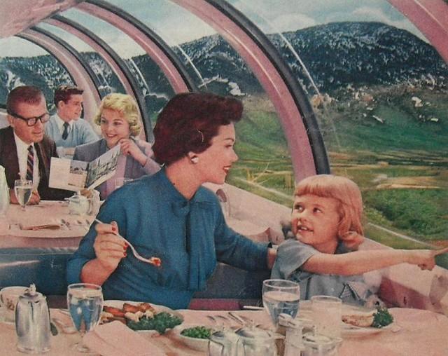 1950s Train Dining Car Interior Modern Midcentury Windows Vintage Advertisement Travel
