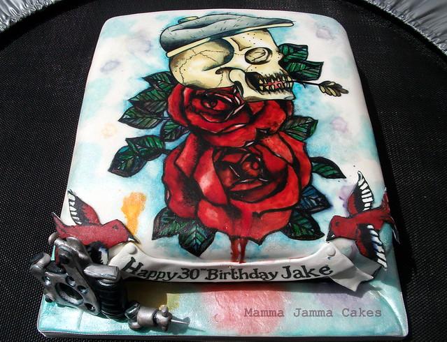 Skulls and Roses Cake