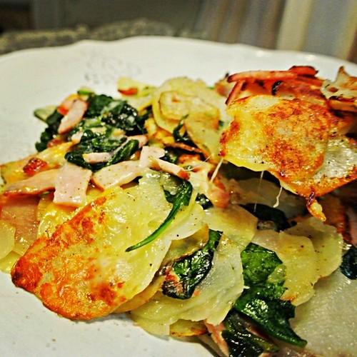Potato, Spinach, Ham and Cheese