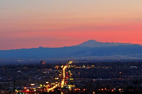 street city pink blue sunset urban mountains landscape lights evening nikon colorado dusk denver commute commuter bluehour federal d300 clff passionphotography impressedbeauty federalboulevard theperfectphotographer