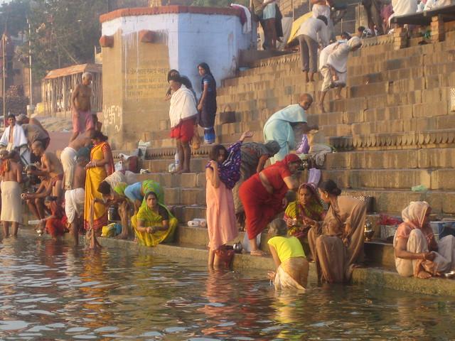 Ganga River Bath Women bathing in Ganga...