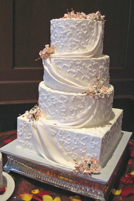 Wedding Cake With Fondant Draping Flickr Photo Sharing