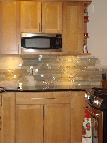 Fire and ice brick tile backsplash Kitchen backsplash ideas pictures 2010