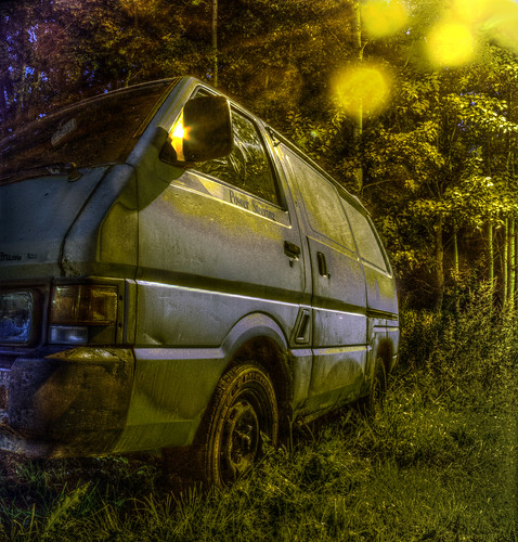 Old van under street lamp light