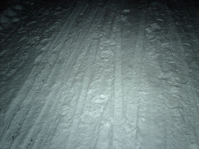 Cycle tracks in the snow
