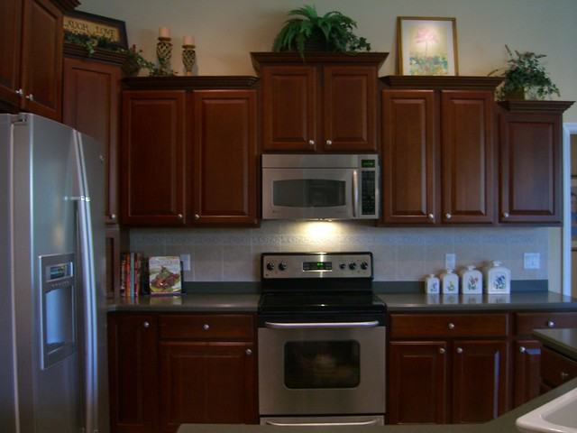 Kitchen with 42 in upgraded cherry cabinets and high end for Kitchen cabinets 42 high