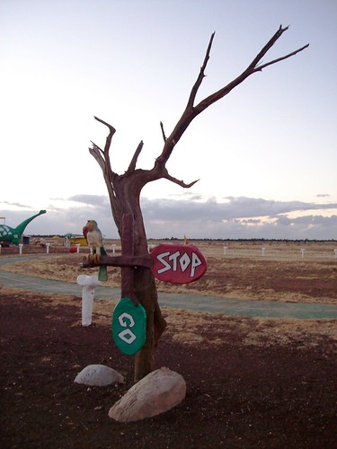 The end of my visit to Bedrock City, Arizona as the sun sets - bedrock50x