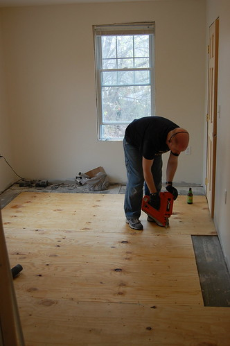 Laying down the subfloor
