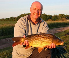 Mark with a  9lb Common Carp from Moss Lake, caught on sweetcorn using method feeder.