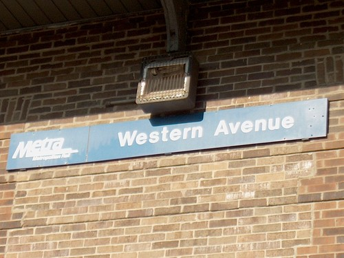 The station sign on the east side of the Metra Western Avenue commuter rail station. Chicago Illinois. October 2006. by Eddie from Chicago