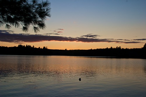 sunset lake clouds maine longpond