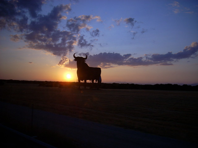 A bull silhouette in Spain, it's big.