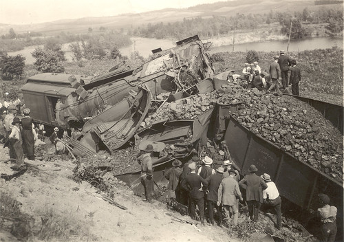 Photograph of post card of wrecked train near Beitner, Michigan