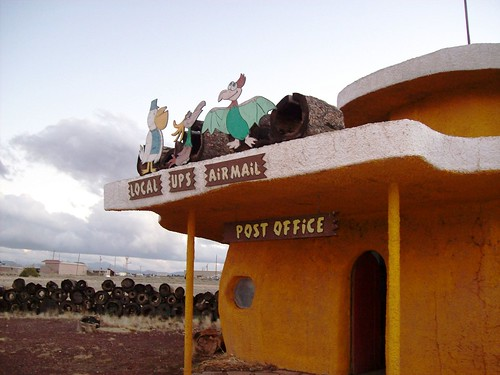 Local, UPS, Airmail - your choice at the Bedrock City, Arizona post office - bedrock43x