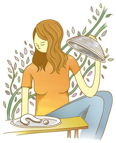 Una chica descubre una fuente de comida. Dentro, un signo de interrogación