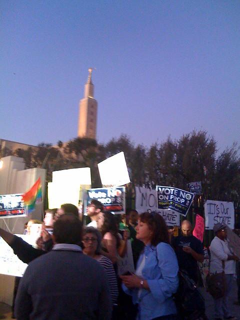 Prop 8 protest at the Mormon Temple on Santa Monica Blvd.