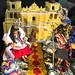 Posada chapina, con decoración de la fachada del templo de La Merced y señores vestidos con trajes indígenas, Guatemala. by RobertoUrrea