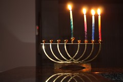 holiday(0.0), darkness(0.0), lighting(0.0), candle(1.0), menorah(1.0), light(1.0), candle holder(1.0), hanukkah(1.0),