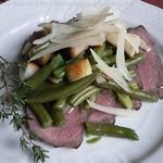 Roastbeef mit Grünen Bohnen, Croûtons und Parmesan