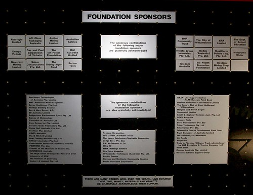 Sponsors of the Scienceworks museum