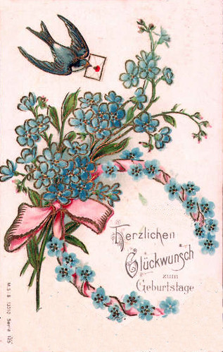 1903 swallow & flowers