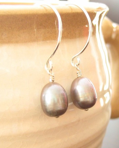 Peacock Pearl Earrings - Sterling silver round ear wire