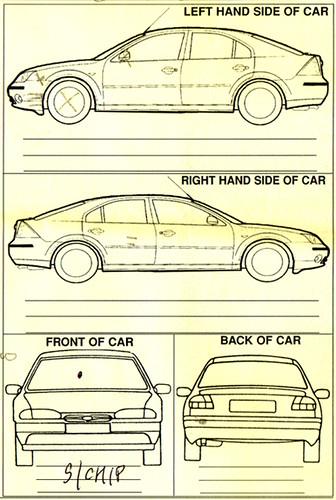 Rental car damage form