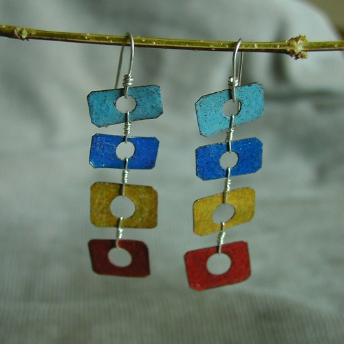 steel earringss red,yellow,2blues by Duffy Designs