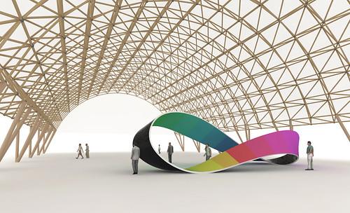Möbius Band unter einer filigranen Konstruktion