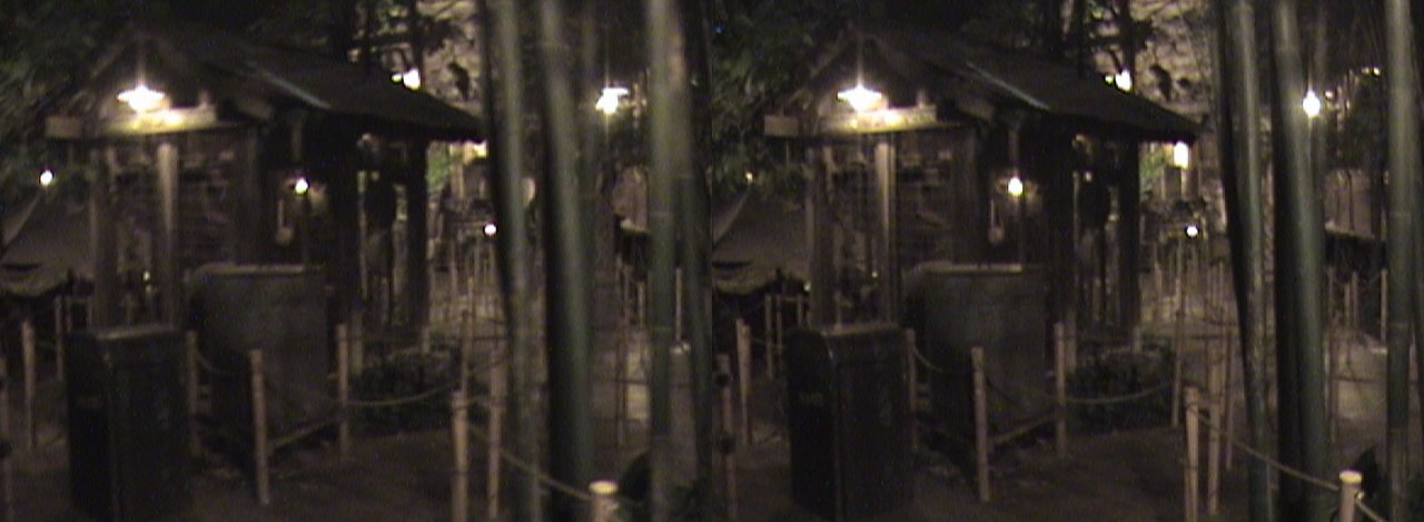3Dh, Generator, Lost Delta Encampment queue, Indiana Jones Adventure: Temple of the Forbidden Eye, Adventureland, Disneyland®, Anaheim, California, color slow shutter, Hyper3D, 2008.06.08 23:55