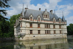 Chateau of Azay-le-Rideau and the moat surrounding it.